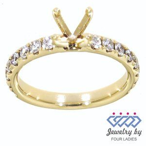 Real Diamond SemiMount Engagement Ring Yellow Gold